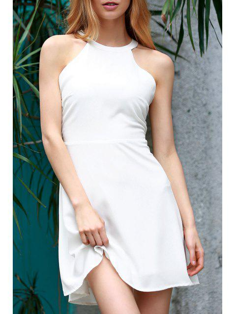 women Backless Hollow Out Round Neck Sleeveless Dress - WHITE L Mobile