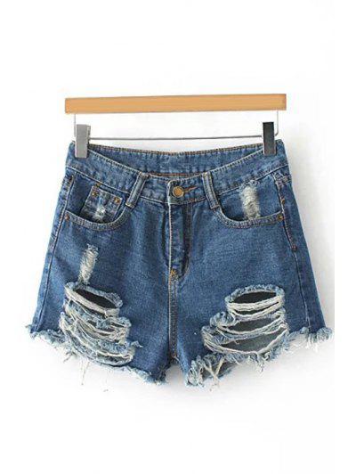 Broken Hole Staight Leg Denim Shorts - Blue M