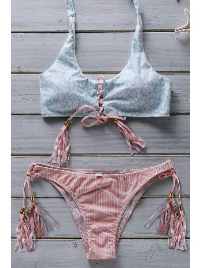 Flower Print Lace Up Bathing Suit - Pink M