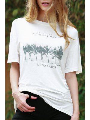 Coconut Palm Print White T-Shirt - White 2xl