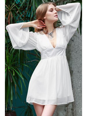Deep V Neck Flare Sleeve Chiffon Dress - White Xl