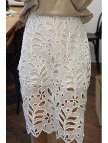 Buy Fitted White Hollow High Waist Lace Skirt - WHITE ONE SIZE(FIT SIZE XS TO M)