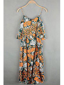 Bohemian Printed Spaghetti Straps Sleeveless Chiffon Dress - Yellow M