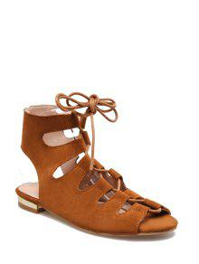 Buy Lace-Up Peep Toe Flat Heel Sandals - BROWN 36