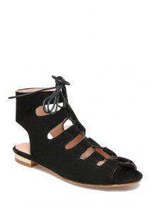 Buy Lace-Up Peep Toe Flat Heel Sandals - BLACK 36