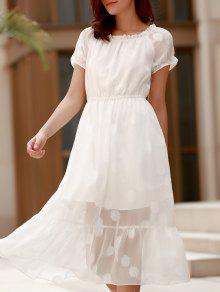 Color Sólido Con Encanto Off-The-Hombro Visten De Gasa Diseño Midi Para Las Mujeres - Blanco Xl