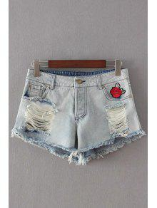 Buy Broken Hole Embroidery Denim Shorts - LIGHT BLUE L