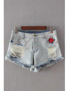 Buy Broken Hole Embroidery Denim Shorts - LIGHT BLUE L