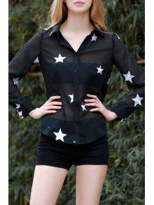 Star Print See-Through Chiffon Shirt - Black Xl