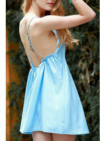 Backless Spaghetti Straps Solid Color Dress - Blue M