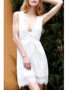 El Cordón Blanco Hundiendo Cuello Vestido Sin Mangas - Blanco M