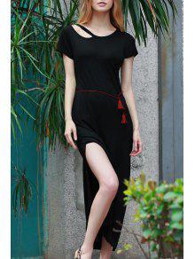 Solid Color Side Vent Long Dress - Black S