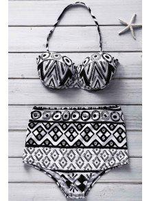 Geometric Print Strapless Bikini Set - S
