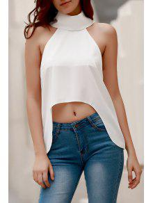 High Low Turtle Neck Sleeveless Tank Top - White M