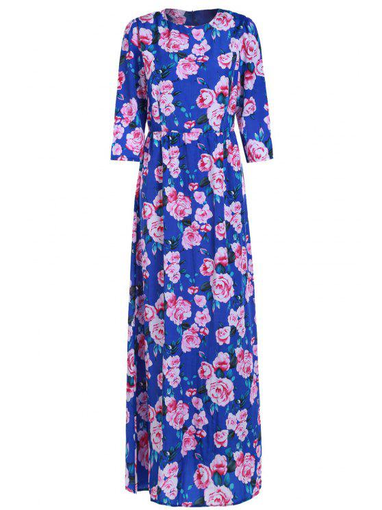 hot Floral Printed Fit and Dlare Maxi Dress - BLUE M