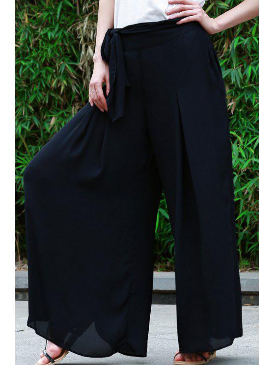 unique High-Waisted Tie-Up Culotte - BLACK S