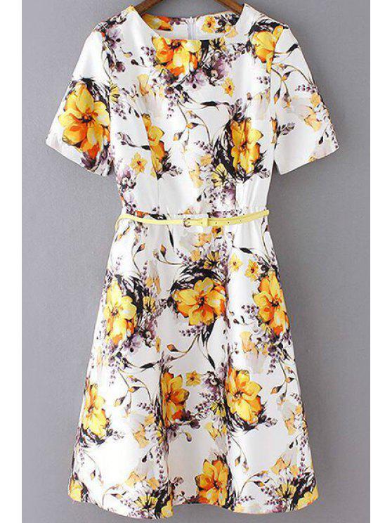فستان قصيرة الأكمام دائرة الرقبة طباعة الازهار أنيق - الأصفر S