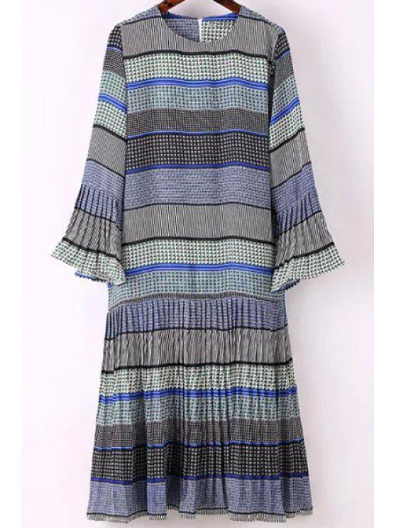 Impresso Rodada Collar alargamento vestido de manga - Azul L