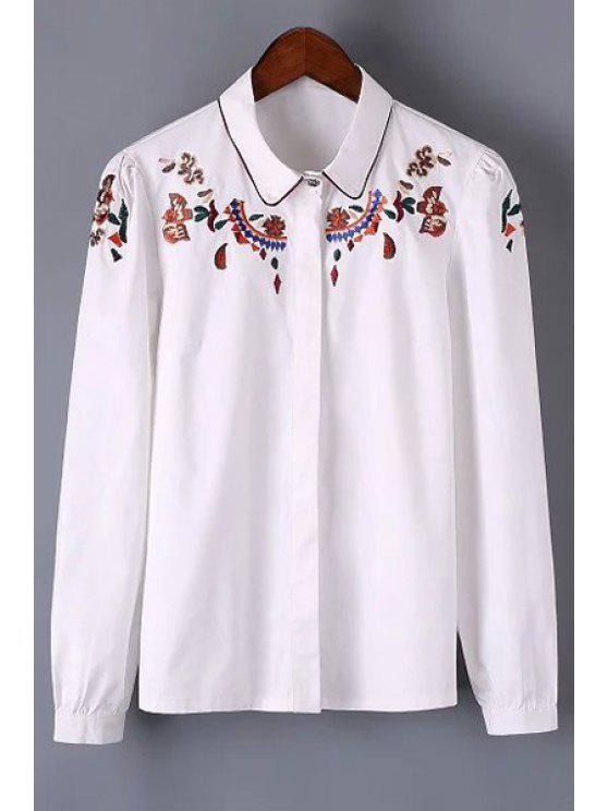 fashion Long Sleeve Embroidered Shirt - WHITE S