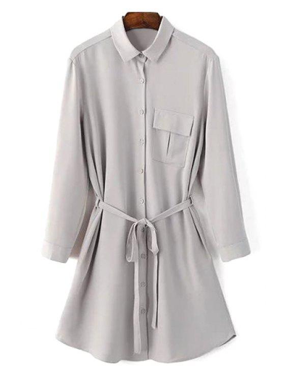 shops One-Pocket Rolled Sleeve Shirt Dress - GRAY M