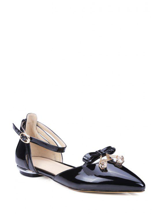 850f9816d0e1 2019 Bow Ankle Strap Pointed Toe Flat Shoes In BLACK 38