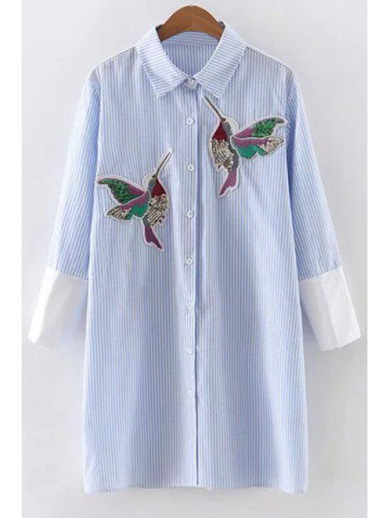fancy Embroidered Sequins Bird Striped Dress - BLUE L