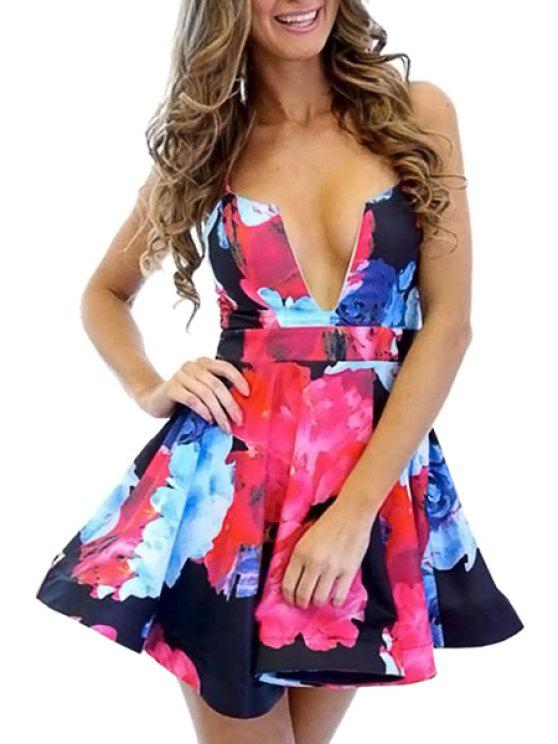 trendy Floral Spaghetti Straps A-Line Dress - ROSE M