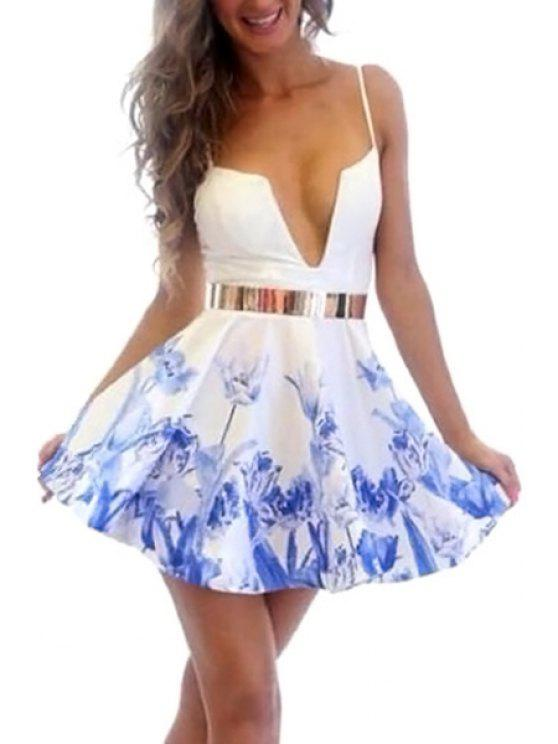 lady Blue Floral Spaghetti Straps Dress - BLUE AND WHITE S