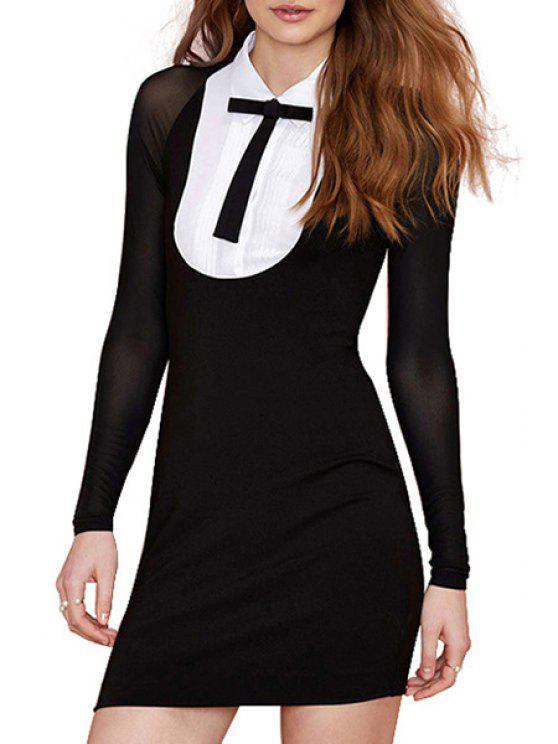 buy Color Block Shirt Collar Dress - BLACK S