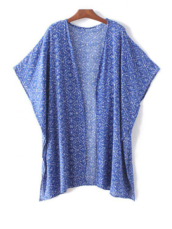 shop Batwing Sleeve Printed Open Front Blouse - BLUE L