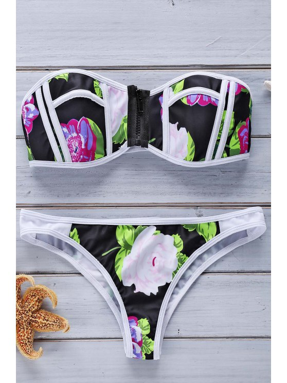 Bloque de color y estampado floral sin tirantes del bikini Set - Colormix L