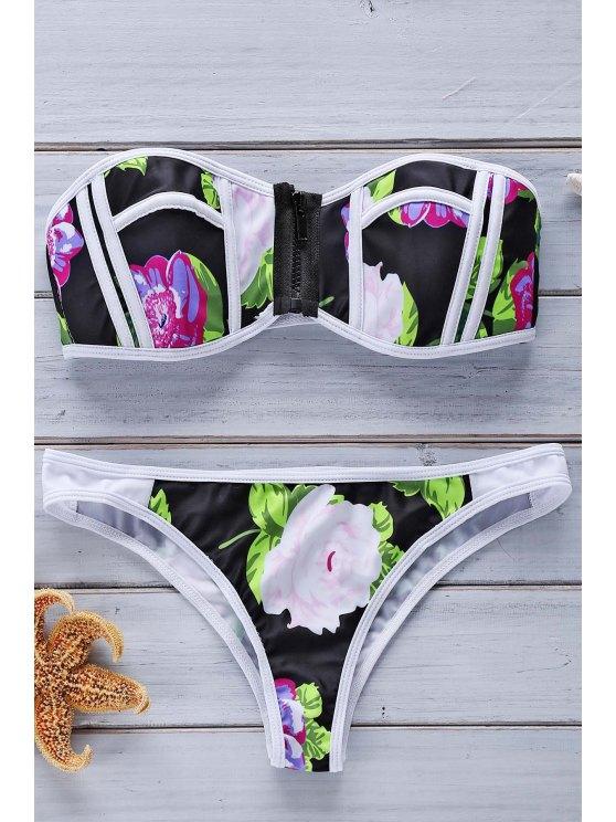 Bloque de color y estampado floral sin tirantes del bikini Set - Colormix L