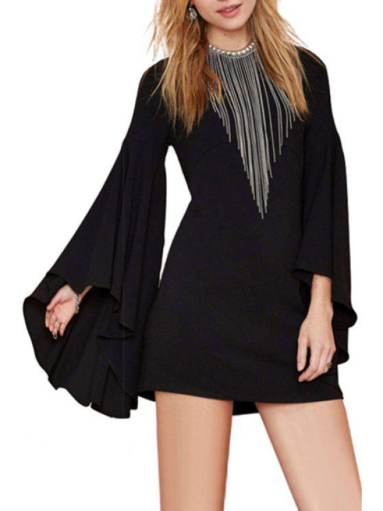 chic Solid Color Bell Sleeve Dress - BLACK XS