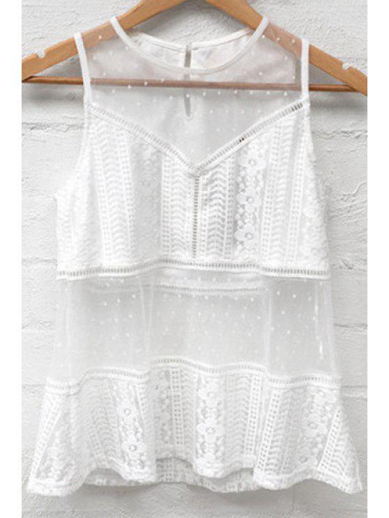 women's Mesh Splice Round Neck White Tank Top - WHITE L