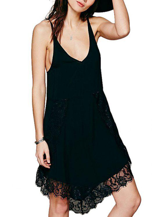 unique Lace Spliced Spaghetti Straps Dress - BLACK L