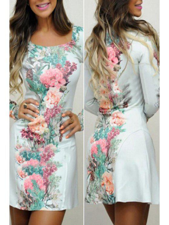 womens Floral Square Neck Long Sleeve Dress - LIGHT BLUE L