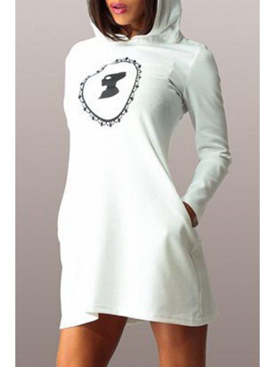 fancy Hooded Long Sleeve Figure Print Dress - WHITE L
