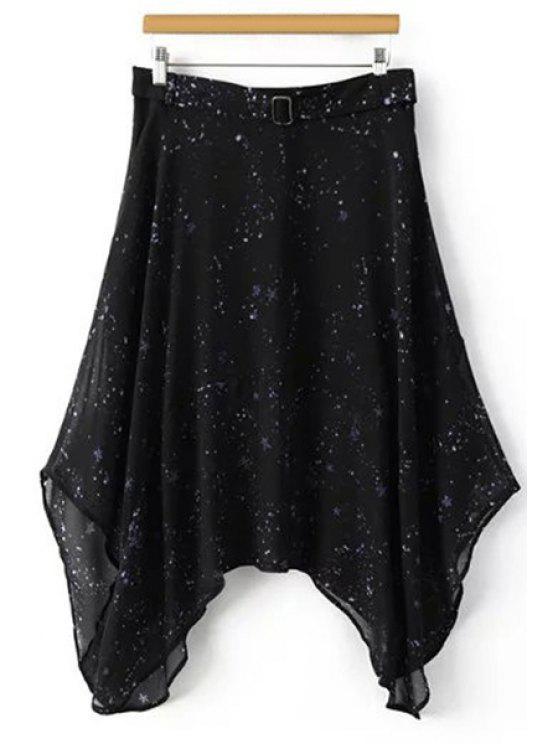 Impresión de la estrella de la alta cintura irregular falda - Negro XL