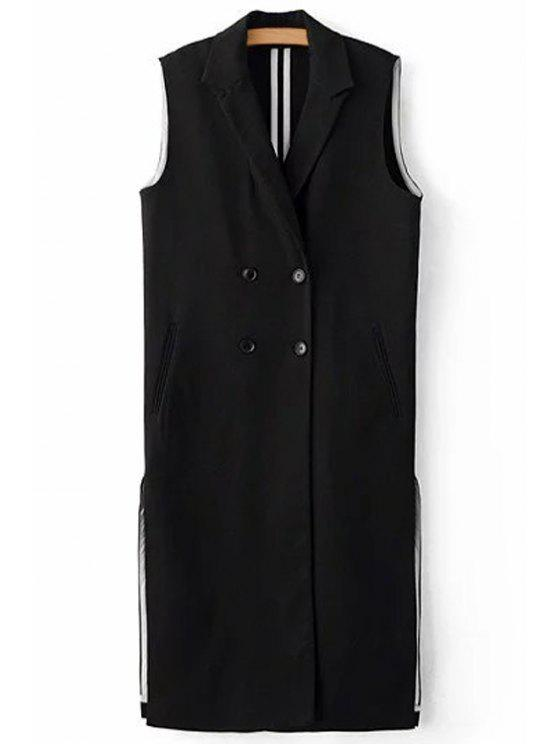 women Black Side Slit Lapel Neck Sleeveless Waistcoat - BLACK M