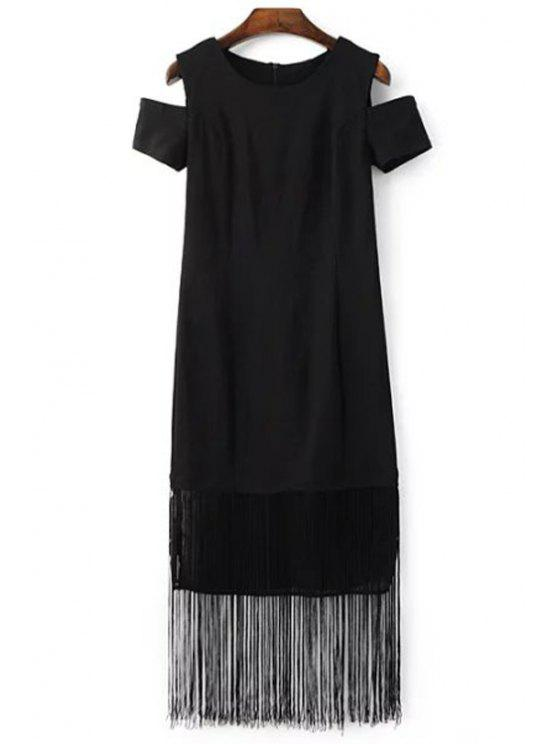 womens Black Tassels Holloe Out Short Sleeve Dress - BLACK M