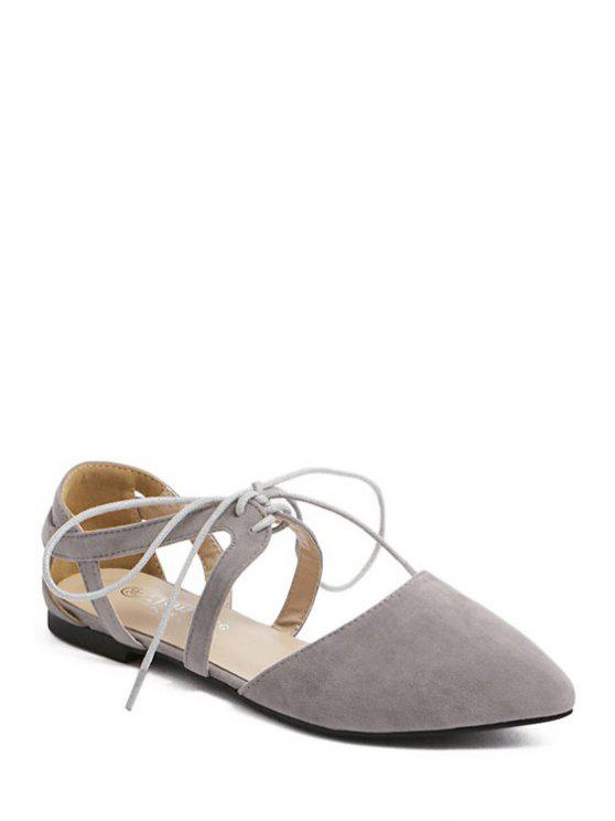 outfit Hollow Out Flock Lace-Up Flat Shoes - GRAY 36
