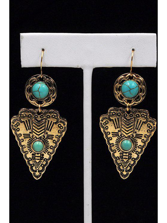 latest Faux Turquoise Triangle Pendant Earrings - GOLDEN