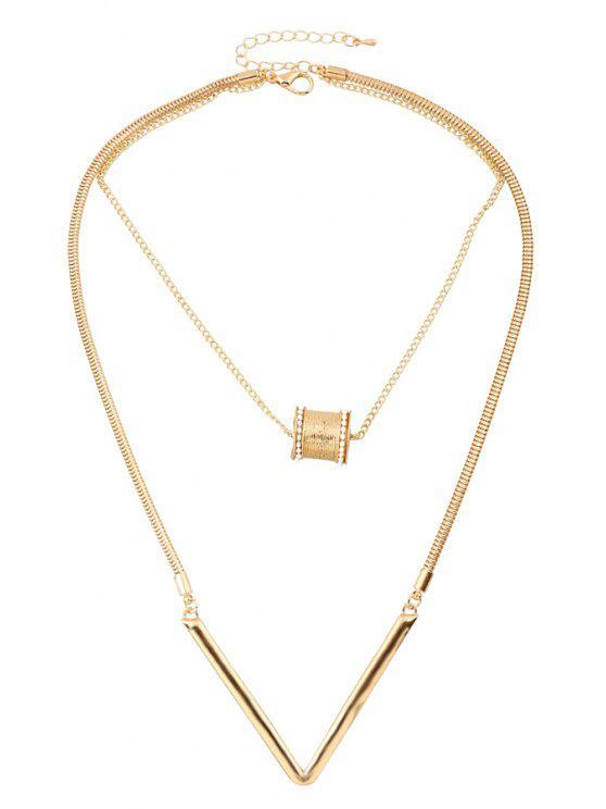 sale Bead Letter V Shape Pendant Necklace - GOLDEN