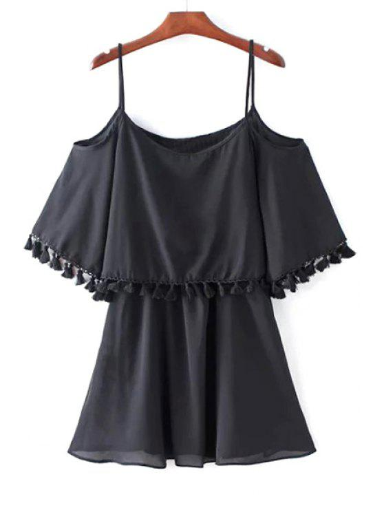 affordable Solid Color Spaghetti Strap Cold Shoulder Dress - BLACK L
