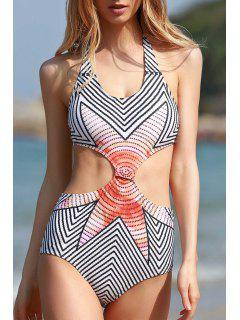 High-Neck Striped One-Piece Swimwear - White L