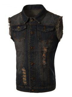 Trendy Turn-Down Collar Bleach Wash Ripped Design Sleeveless Men's Denim Waistcoat - Blue M