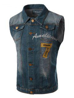 Turn-Down Collar Bleach Wash Embroidery Letters Pattern Sleeveless Men's Denim Waistcoat - Blue L