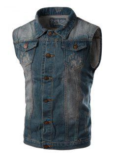 Turn-Down Collar Spliced Design Letters Pattern Sleeveless Men's Denim Waistcoat - Blue L