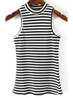 Fitted Striped Jewel Neck Tank Top - Black M