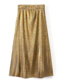 Pleated Sparkly Golden Skirt - Golden L